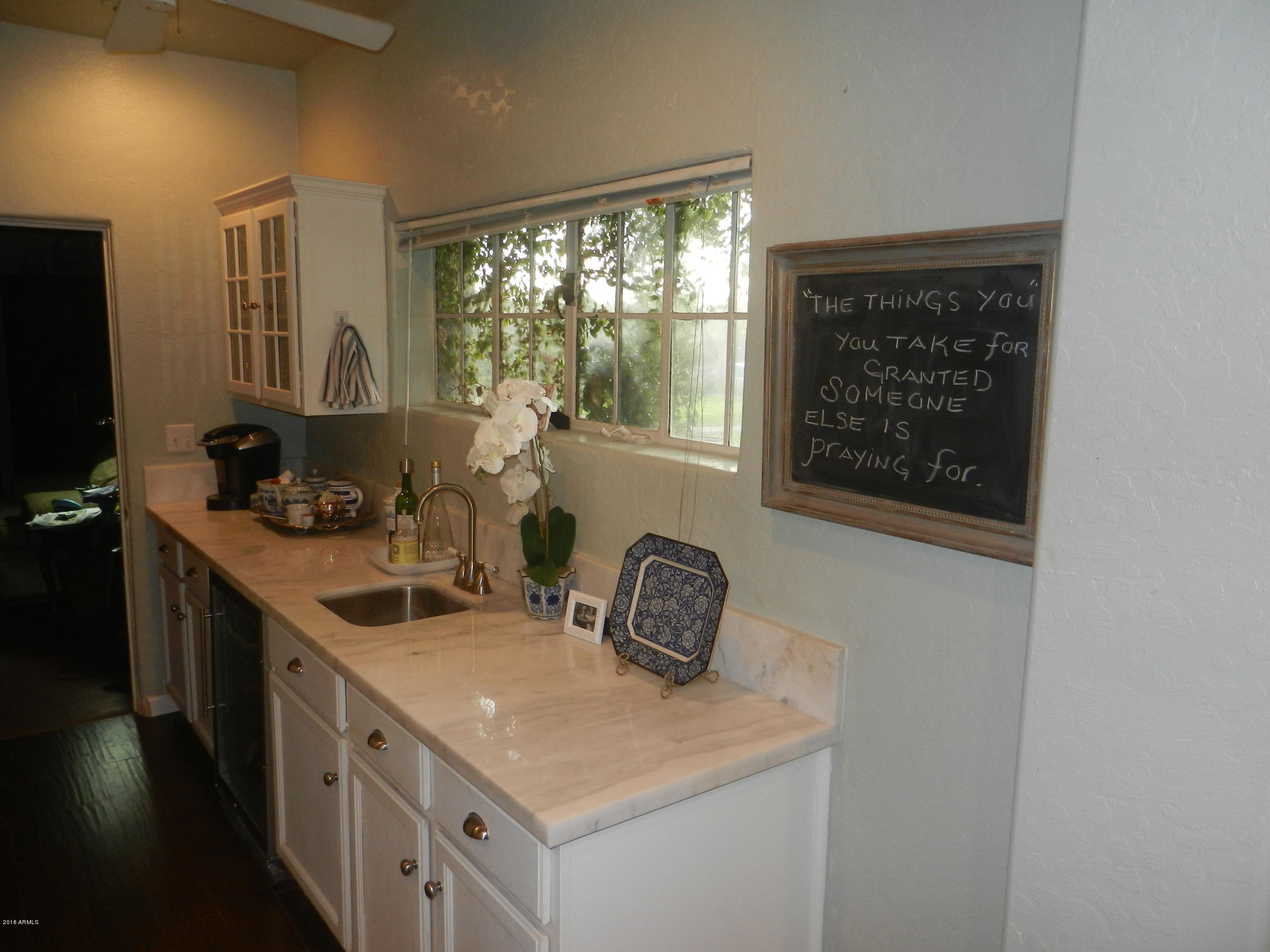 Kitchen with view of yard