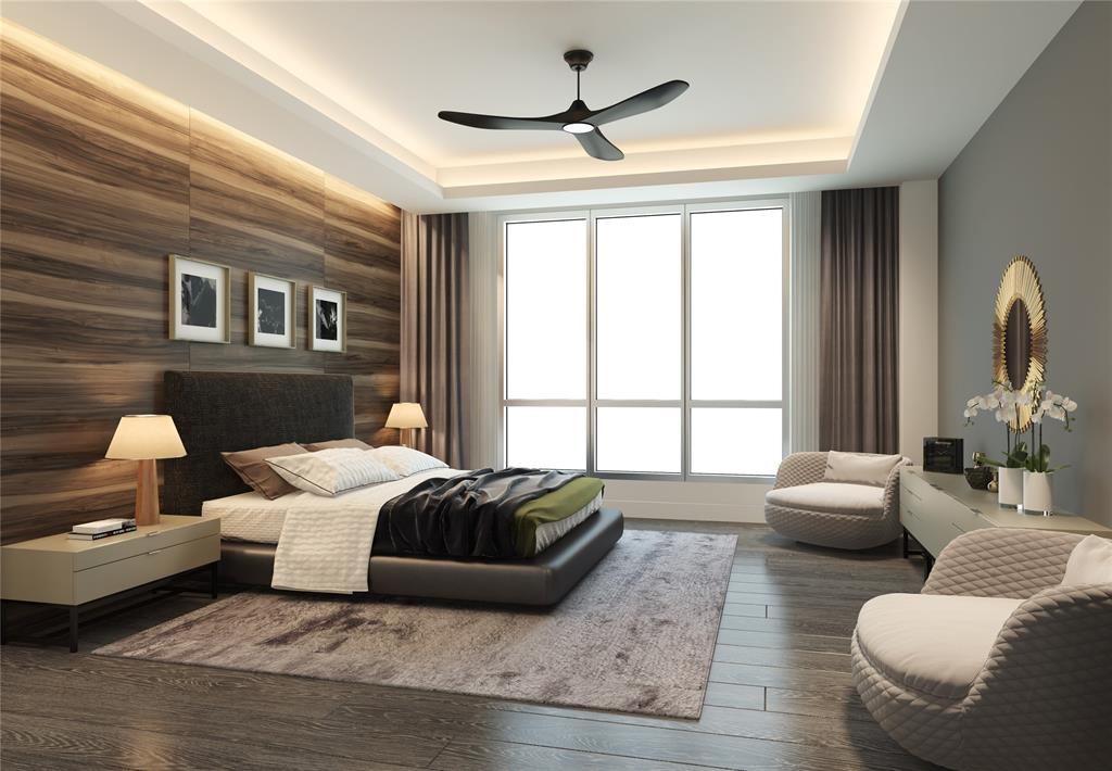Master bedroom with large windows; wood floor and additional Poliform cabinets available for upgrade as well as customizable ceiling and light fixtures.