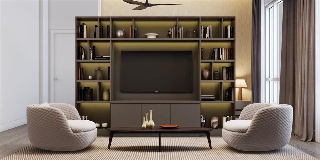 Extra seating area shown here with upgraded, customizable Poliform cabinetry.