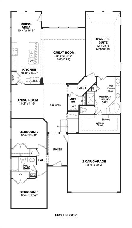 The Tuscany II floor plan by K. Hovnanian Homes. 1st Floor shown. *Prices, plans, dimensions, features, specifications, materials, and availability of homes or communities are subject to change without notice or obligation.