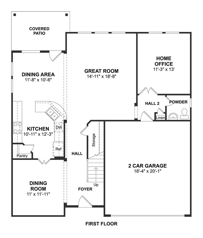 The Captiva II floor plan by K. Hovnanian Homes. 1st Floor shown. *Prices, plans, dimensions, features, specifications, materials, and availability of homes or communities are subject to change without notice or obligation.