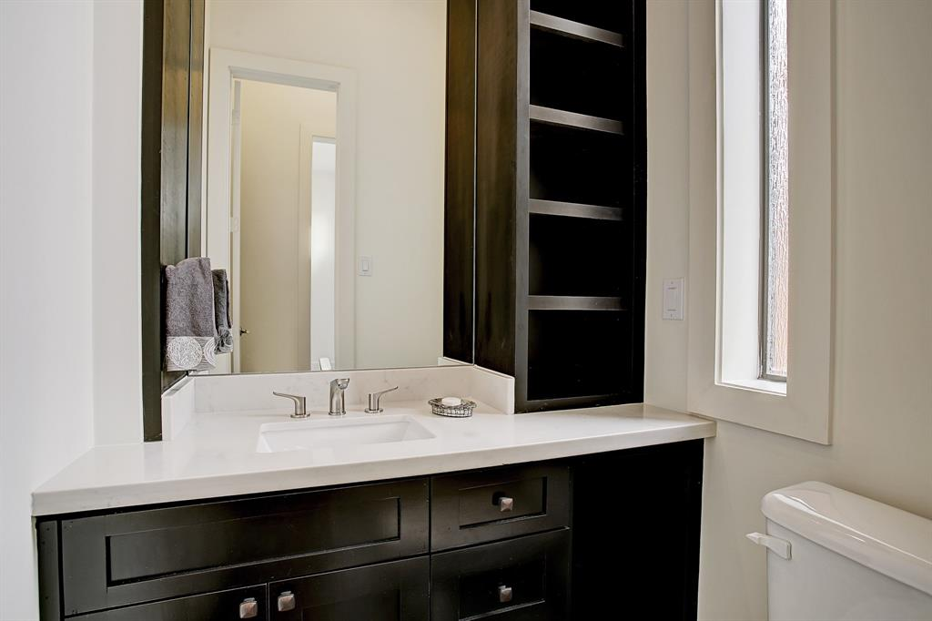 A very private powder room off the dining room - kitchen area