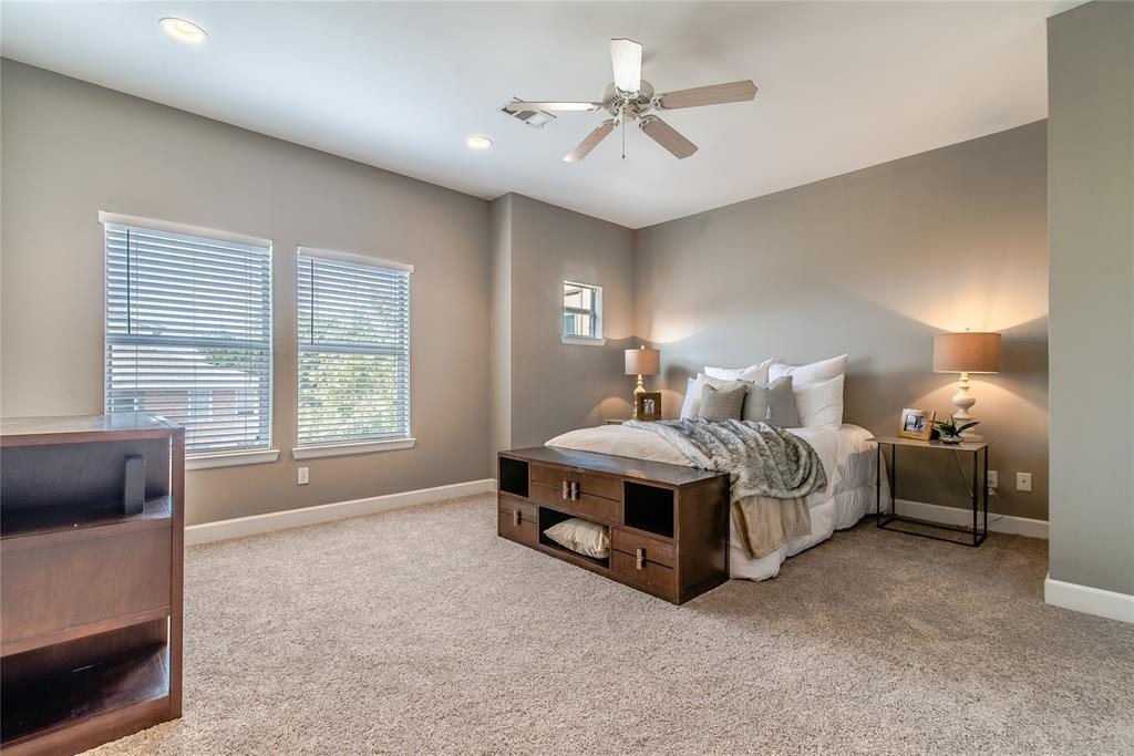 Master bedroom with a brand new carpet installed. Large windows providing a nice daylight.