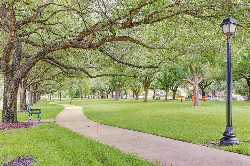 Across the Boulevard is Paseo Park - winding sidewalks for walking is a welcome amenity in the City of Bellaire.  This well-lit park is known for taking photos or having a picnic with your family and friends.  Walk across the street and you are there - or a quick walk to Starbucks, the new HEB, shops & restaurants!