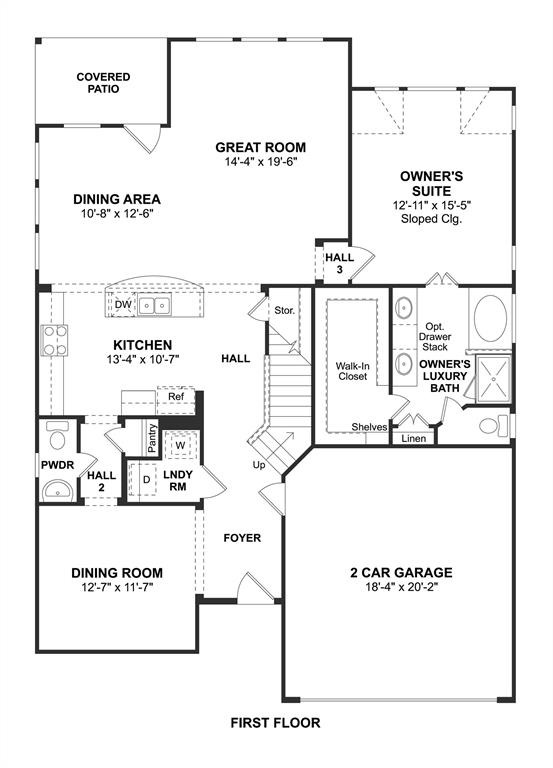 The Sawyer II floor plan by K. Hovnanian Homes. 1st Floor shown. *Prices, plans, dimensions, features, specifications, materials, and availability of homes or communities are subject to change without notice or obligation.