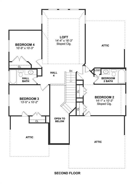 The Sawyer II floor plan by K. Hovnanian Homes. 2nd Floor shown. *Prices, plans, dimensions, features, specifications, materials, and availability of homes or communities are subject to change without notice or obligation.