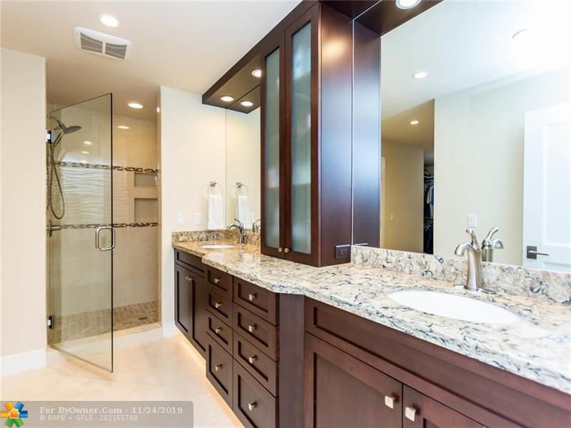Eye pleasing master bath with large shower and his & her water closets