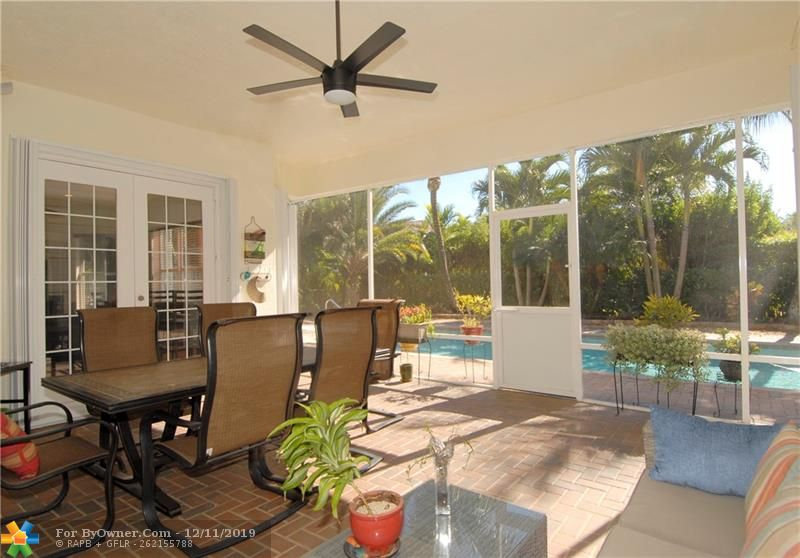 The screened-in patio