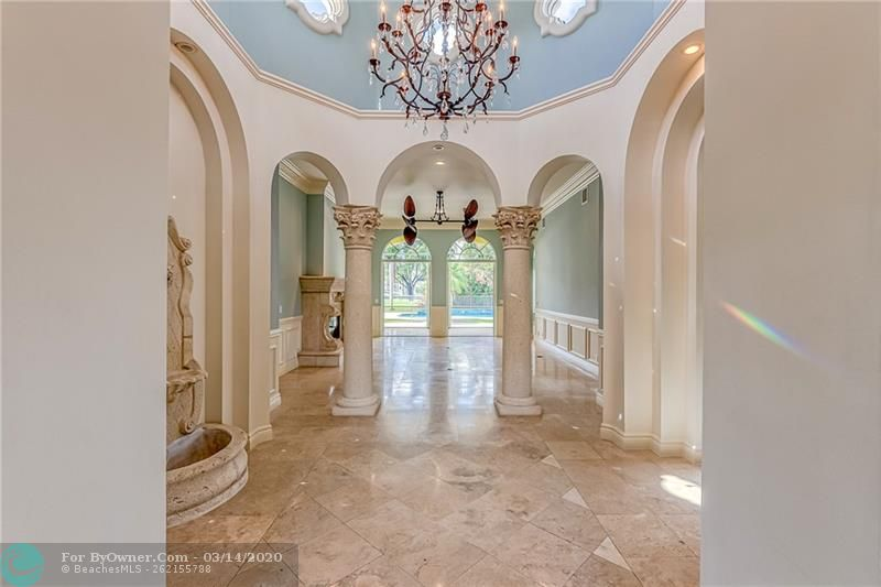 Open the door to this gorgeous front foyer and fountain and 20 ft ceilings
