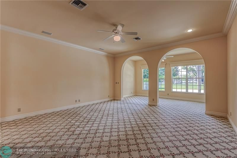 Large master with crown molding and 12 ft ceilings