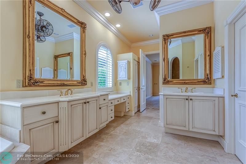 Huge master bathroom with tons of storage and additional makeup counter