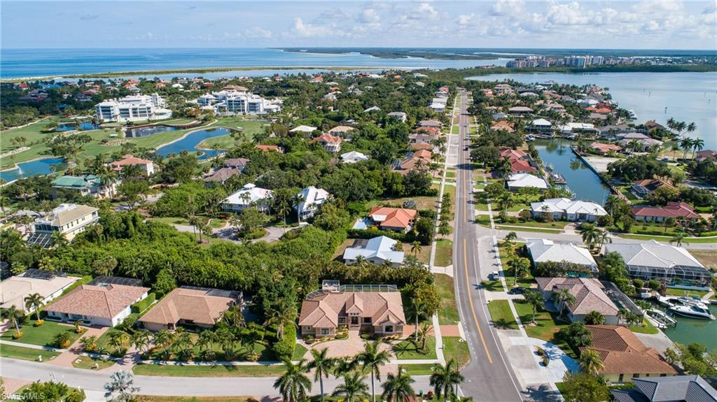 Overhead view from Colonial Ave with Smokehouse Bay and Hideaway Beach in the background